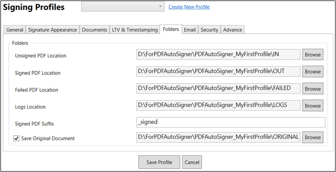 Folder Selection to digitally sign PDF