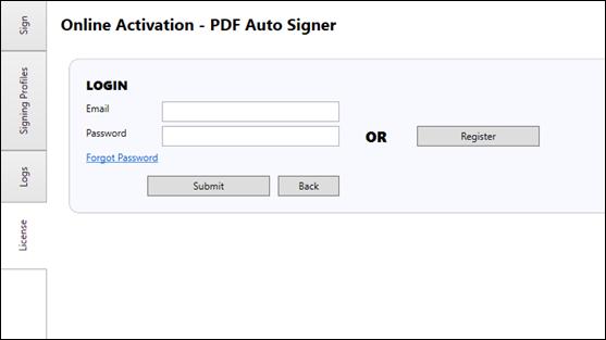 Login Online License Activation