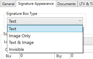 Signature Box Type Settings